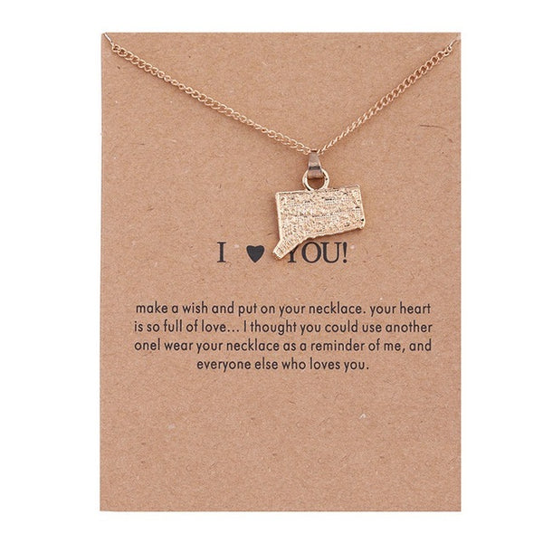 "Make A Wish Necklace: ""I Love Connecticut"""