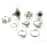 Silver Elegance Stone 10 Pcs Stack Rings Set