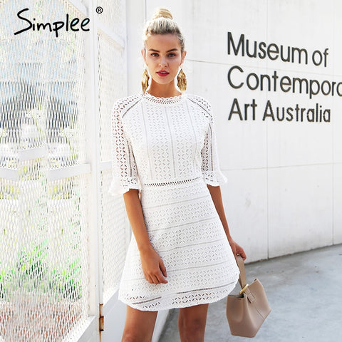 Simplee Elegant Half Sleeve Lace Dress