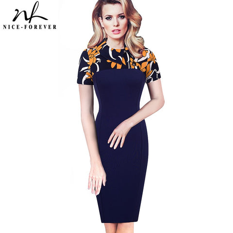 Turn-down Collar Button Business Dress