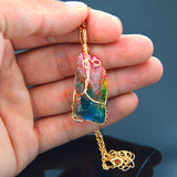 Natural Rainbow Colors Stone Necklace