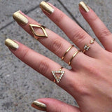 5pcs Crystal Women Knuckle Stacking Rings Set
