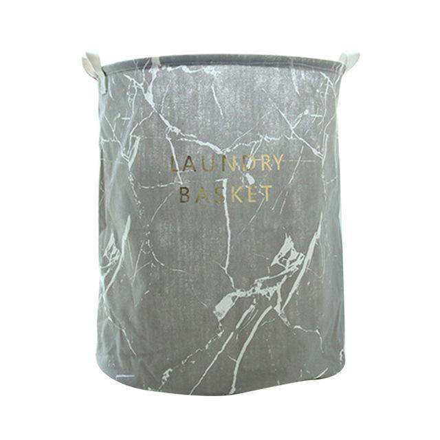 Nordic Foldable Foldable Laundry Basket Cartoon Marble Printed Folding Dirty Clothes Storage Bag Barrel tendancefactory