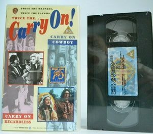 2x Carry On: Regardless (1961) / Cowboy (1965); [Brand New Sealed] - Pal VHS