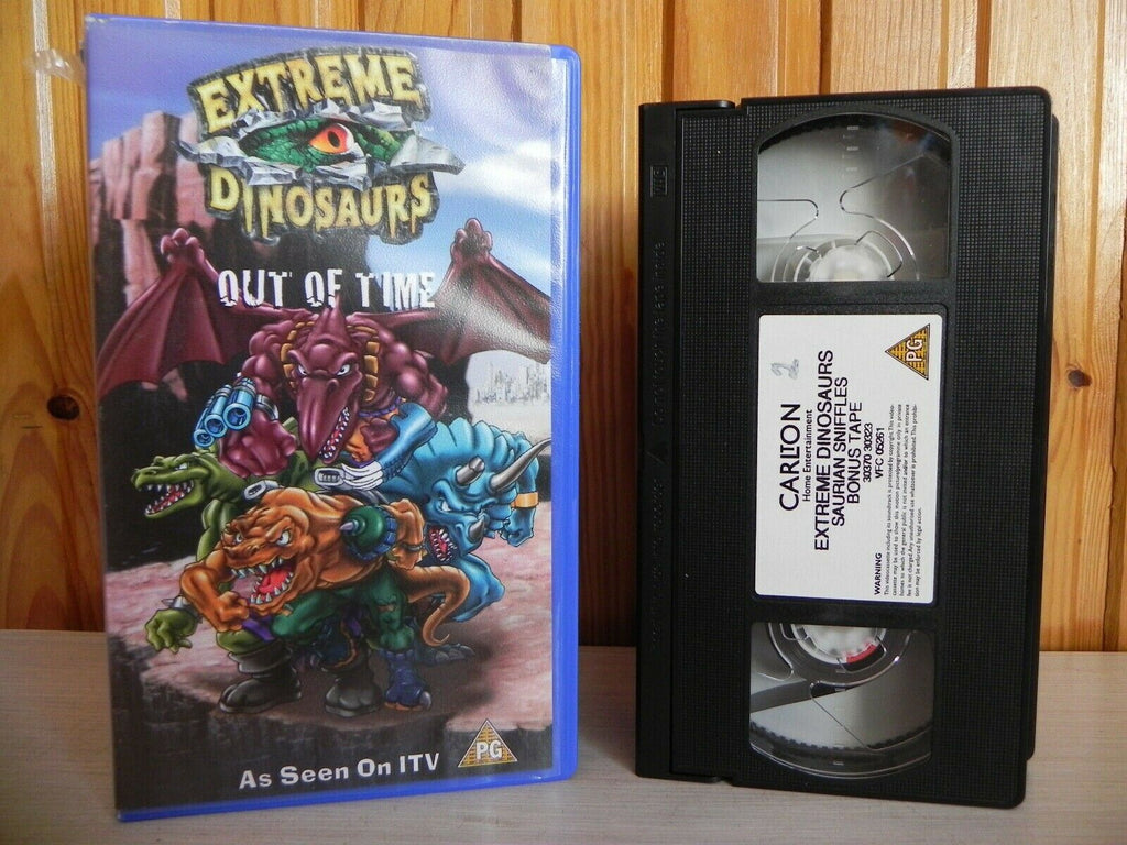 2x Tape: Extreme Dinosaurs; Out Of Time - As Seen On ITV - Cartoon - Kids VHS