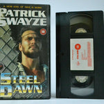 "Steel Dawn (1987): ""Mad Max"" Movie Syle - Sci-Fi Action Virgin - P.Swayze - VHS"