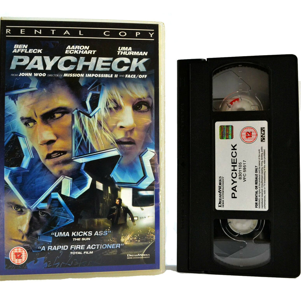 Paycheck: Film By J.Woo (2004) - Action/Thriller - Large Box - Ex-Rental - VHS