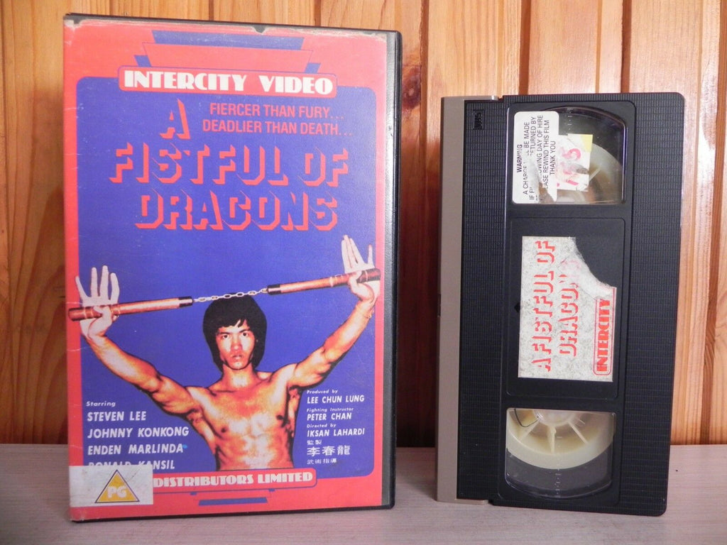 1982, A Fist Full Of Dragons, Big, Box, Bruceploitation, Deadly, Deleted Title, Dragons, Duel, Ex, Fistful, ICV110, Iksan Lahardi, Indonesia, Intercity, Johnny Kokong, Kung-Fu, Of, PAL, PG, Pre Cert, Rental, Stephen Lee, VHS