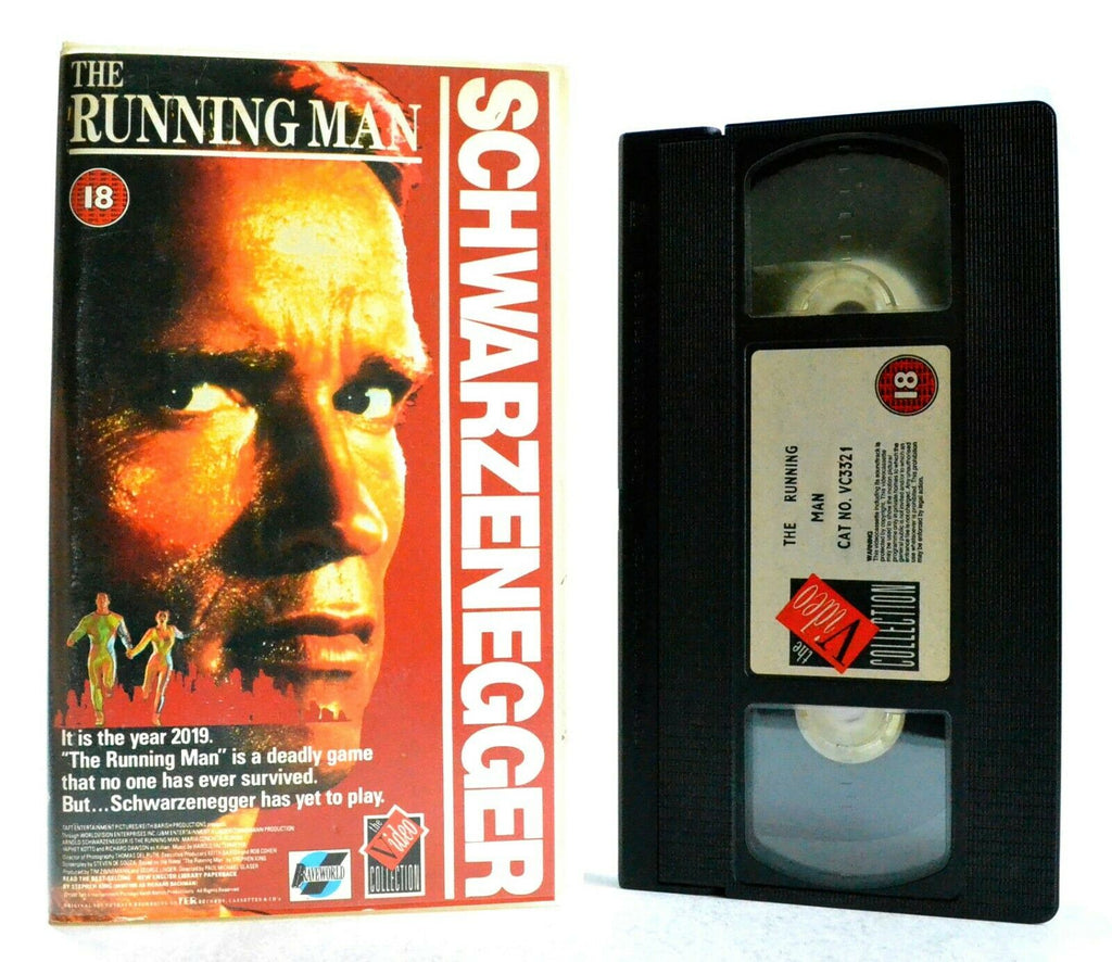 The Running Man: Based On S.King Novel - Sci-Fi Action - A.Schwarzenegger - VHS