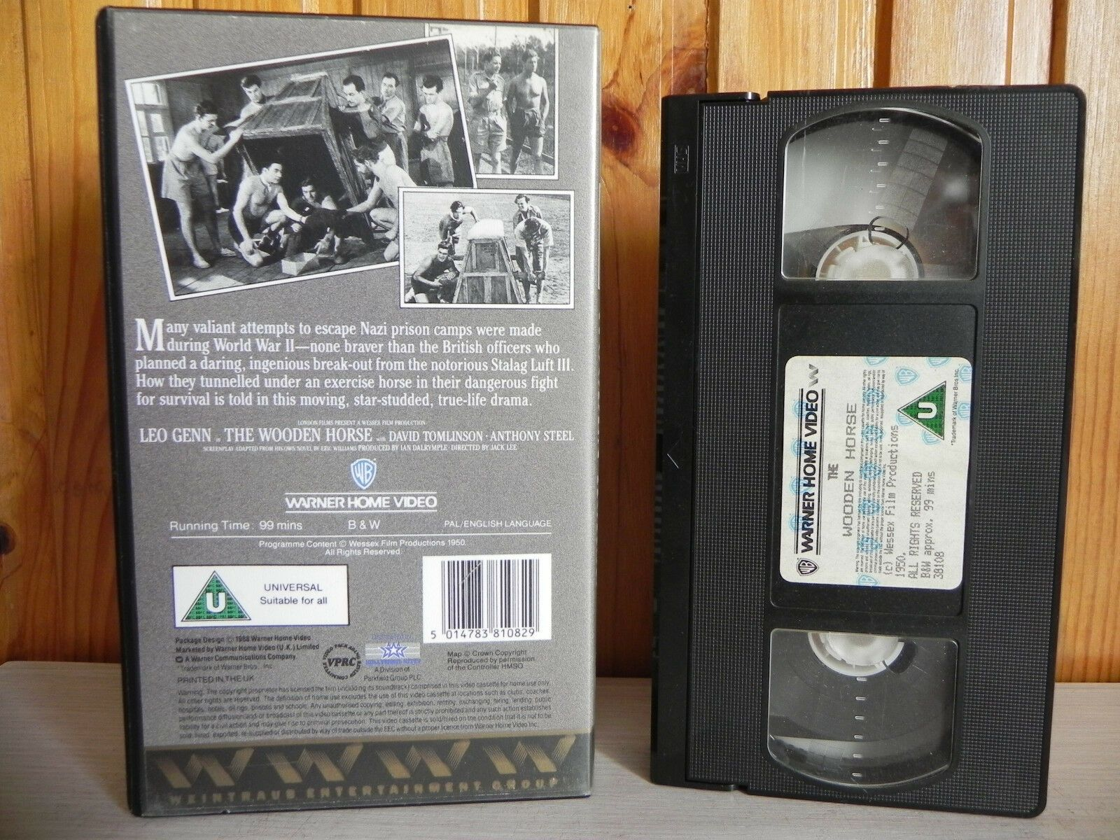 The Wooden Horse - Warner Home - True-Life Drama - World War II - Survival - VHS