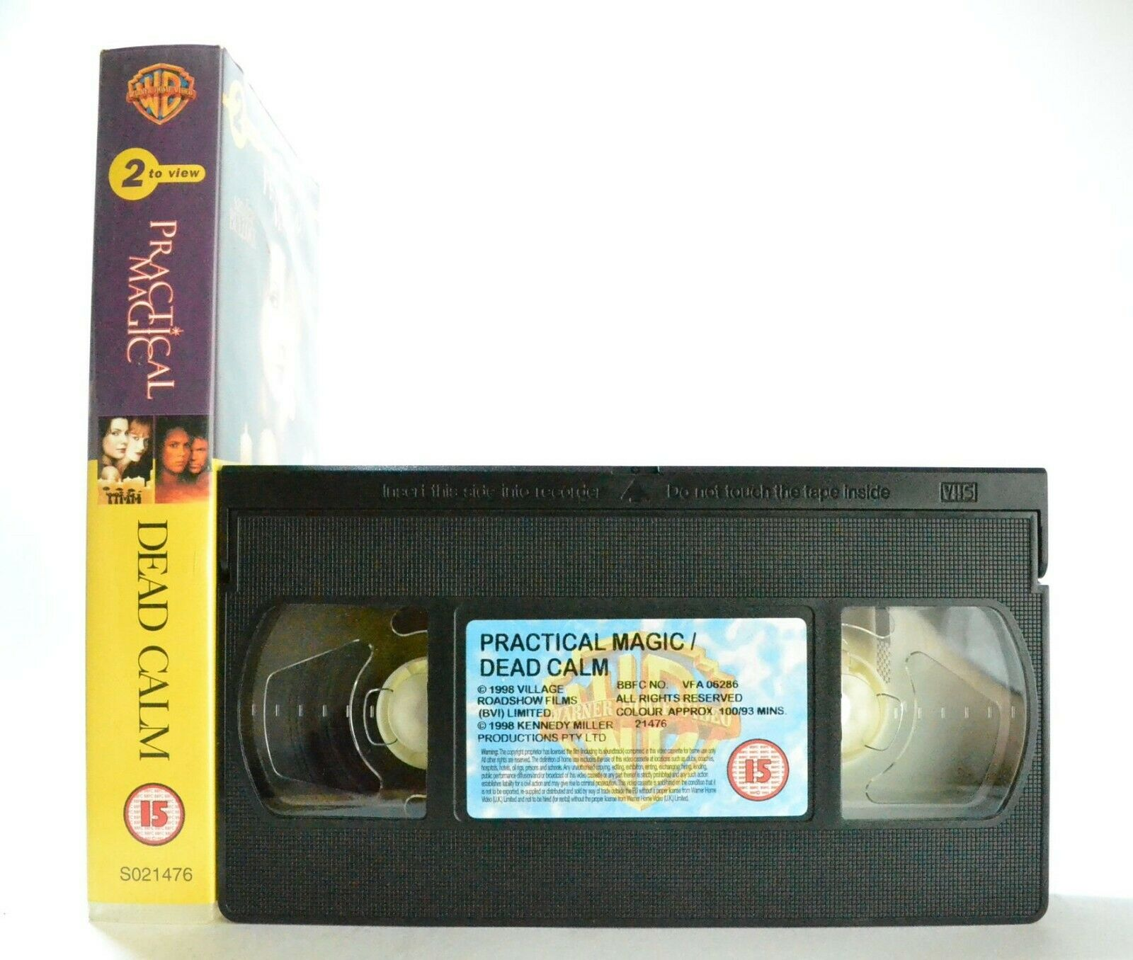 Practical Magic/Dead Calm: Warner (1998) - 2 To View - Nicole Kidman - Pal VHS