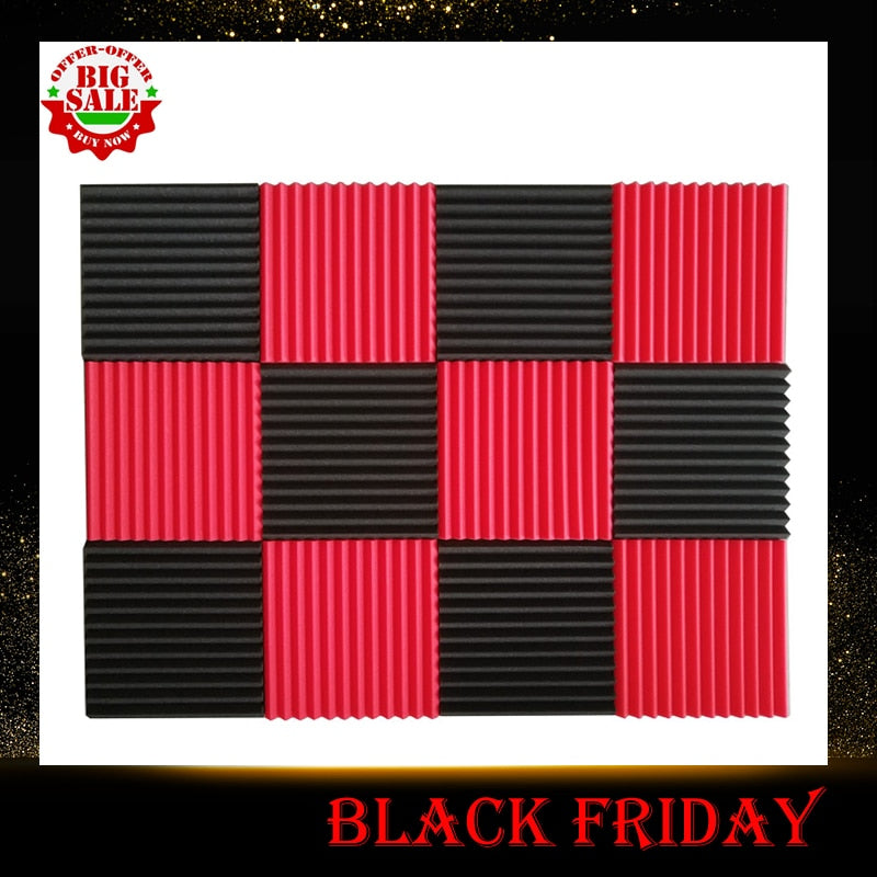 12 Pcs Acoustic Panels Soundproofing Foam Acoustic Tiles Studio Foam Sound Wedges 1inch X 12 inch X 12 inch black + red - Perfect For Cinema Room