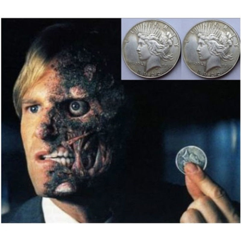Batman's Two Face - Prop Trick Replica Coin - Harvey Dent - Cosplay Collectable - Double Headed Trick Coin - Heads Or Tails