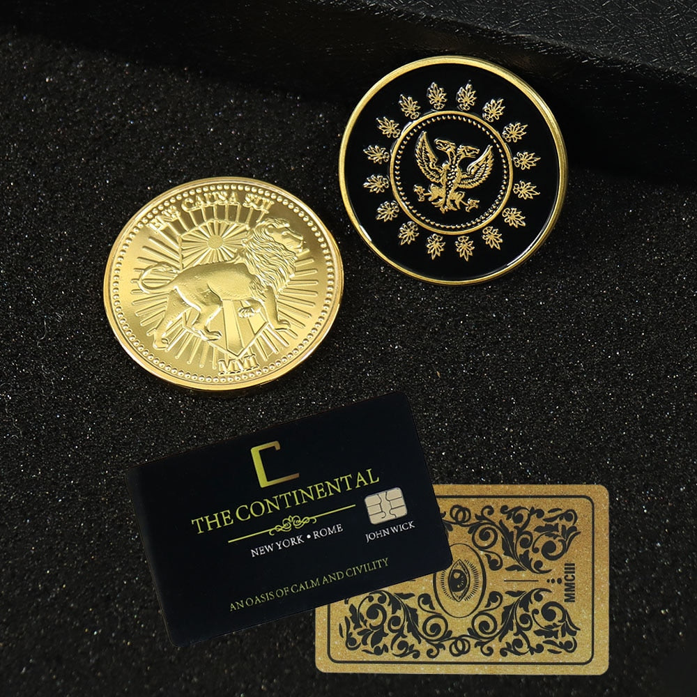 John Wick - Action Movie - Gold/Black Coin - Cosplay Continental - Hotel Card Adjudicator - Black Medallion Keanu Reeves - Props