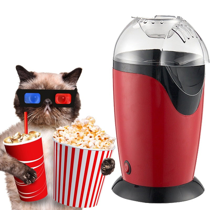 1200W 110v/220v Portable Electric Popcorn Maker Hot Air Popcorn Making Machine Kitchen Desktop Mini DIY Corn Maker