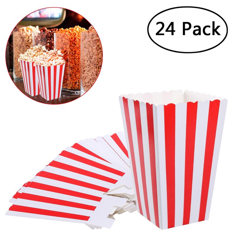 24pcs Red Stripe Popcorn Boxes Candy Box Holder Containers Cartons Paper Bags For Movie Theater Dessert Tables Wedding Favors