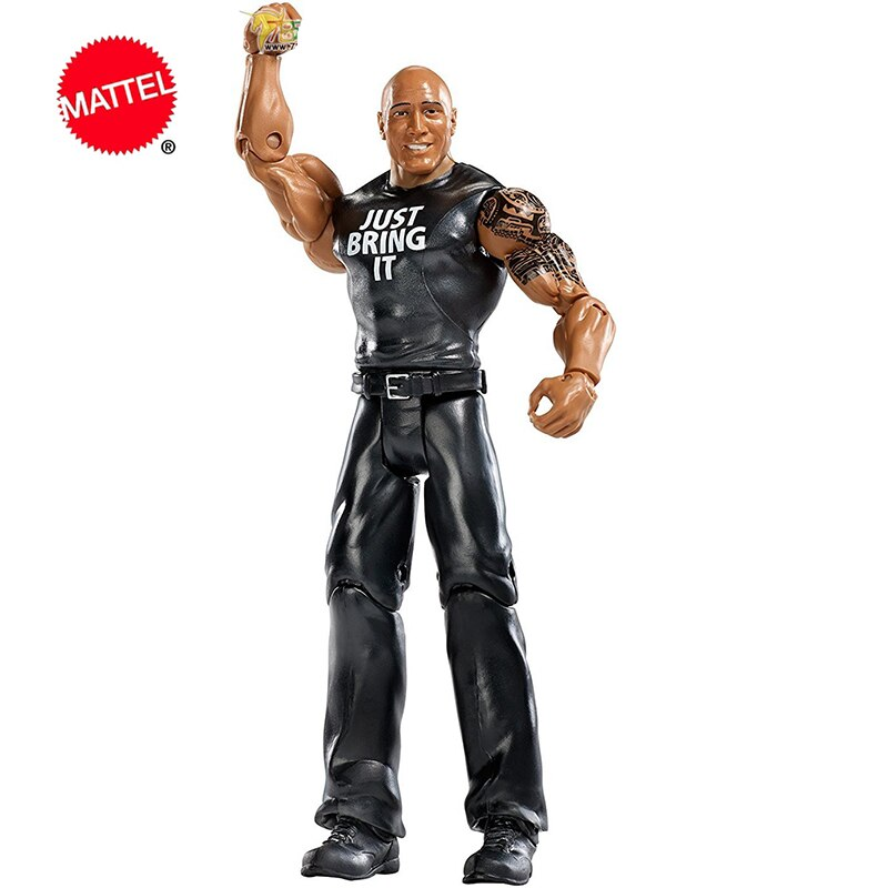Mattel WWE Super mobile Series The Rock Wrestlers Doll 6 Inch Action Figure Model Kids Toys Birthday Gift