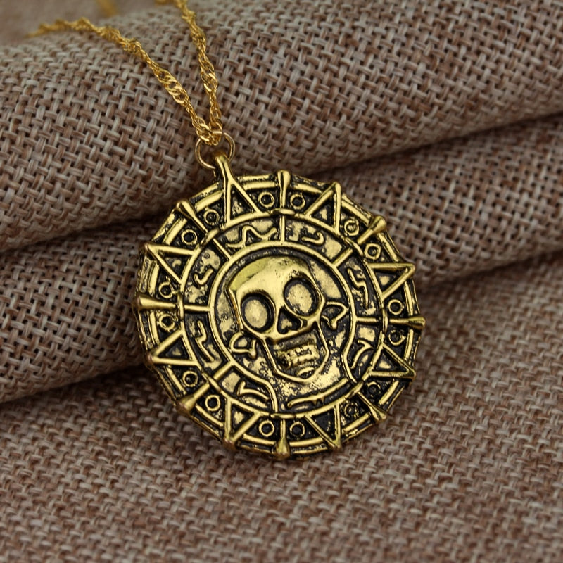 Pirates Of The Caribbean - Jack Sparrow Aztec Coin Medallion - Vintage Gold Bronze Or Silver - Movie Prop Replica Pendant & Necklace
