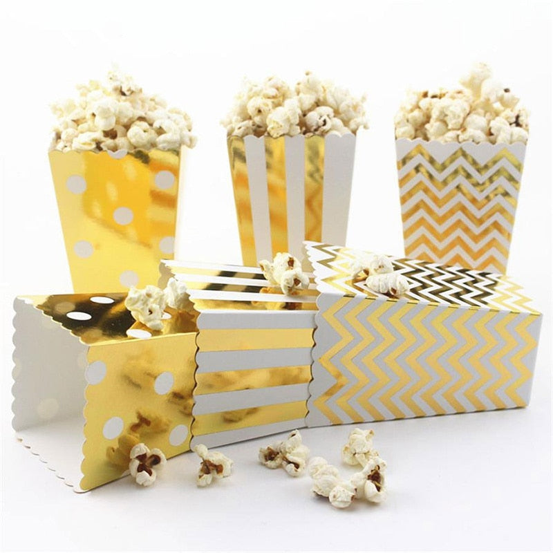 12pcs Tableware Gold/Silver Stiff Paper Popcorn Boxes Pop Corn Candy Sanck Flavour Bags - Perfect For Movie Nights