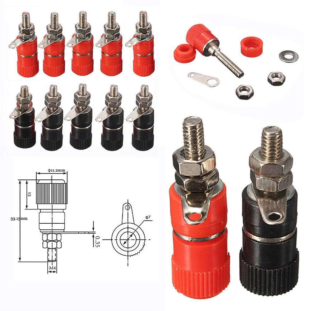 10pcs 4mm Red&Black Banana Socket Professional Binding Post Nut Banana Plug Jack Connector Nickel Plated For 4mm Banana Plug - Perfect For Cinema Room