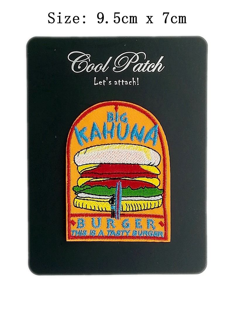 "3.7"" Big Kahuna ""Tasty Burger"" - PULP FICTION Movie Prop Replica - Iron On Patch For Uniform - Tarantino Cosplay"
