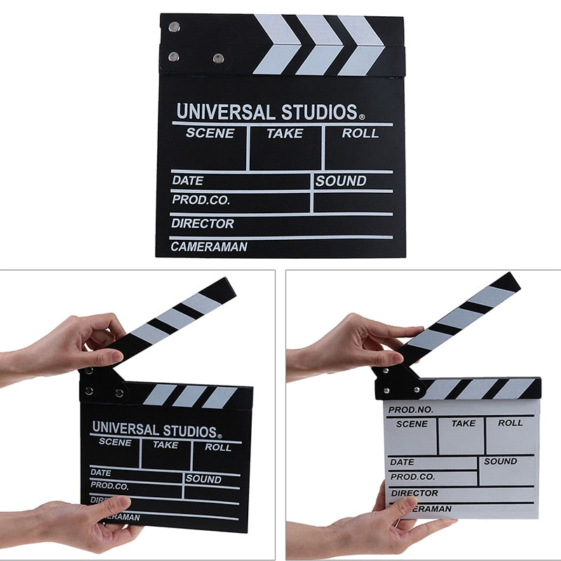 Acrylic Clapboard - Dry Erase TV Film Movie Clapper Board / Slate - Director Video with Color Sticks Included
