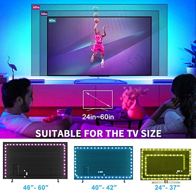 5M RGB STRIP TV Backlight 5V USB Dimmable RGB2835 LED Strip Light for 24 Inch-75 Inch TV Mirror PC Screen Television Home Decor