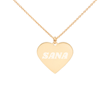 Twice Sana Engraved Silver Heart Necklace