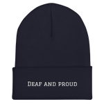 Deaf and proud cuffed beanie