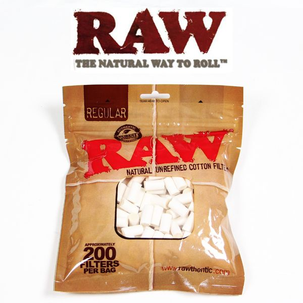 RAW Natural Unrefined Cotton Filters - Bulldog420 Best Head Shop UK