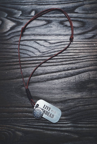 LEATHER DOG TAG + PENDANT NECKLACE (ADJUSTABLE)