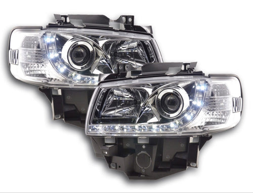 VW T4 DRL headlights 1996-2003 long nose chrome