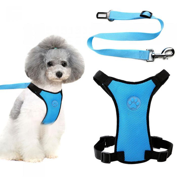 Adjustable Pet Safety Harness with Seatbelt Clip
