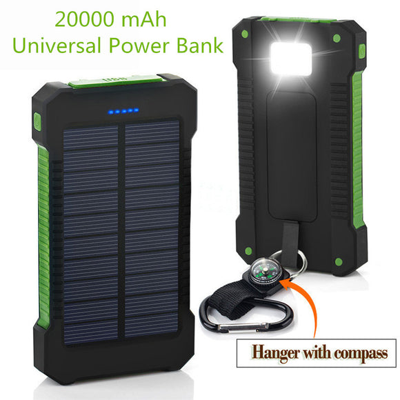 2018 New Portable Waterproof Solar Power Bank 20000mah Dual-USB Solar Battery powerbank for all Phone Universal Batteries