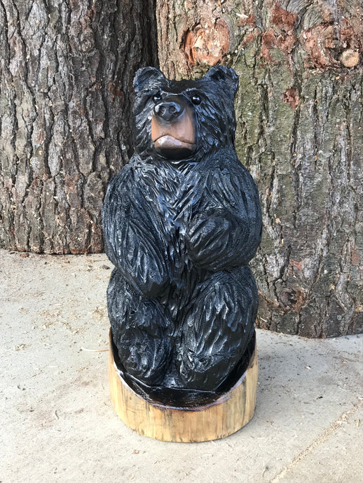 Wooden Carved Sitting Black Bear