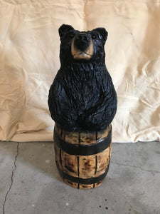 Wood Carved Black Bear in a Barrel