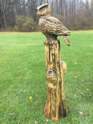 Wooden Owl on Stump Statue
