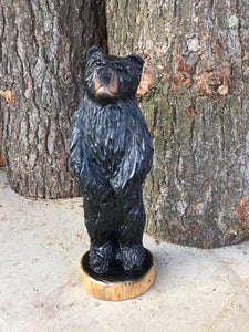 Wooden Carved Black Bear Standing