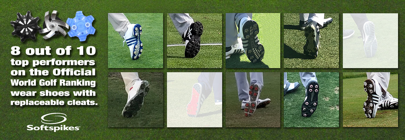 8 out of 10 Top Golf Performers Wear Replaceable Cleat Technology.