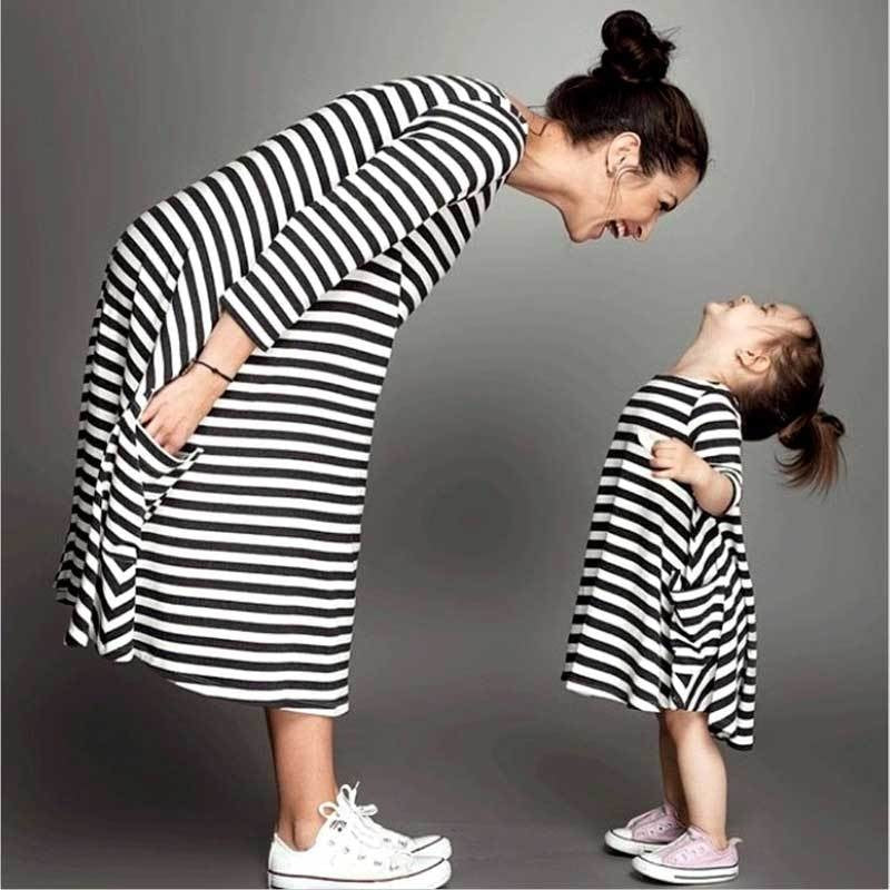 5a07ab73787c Mommy and Me Matching Black White Striped Loose Fitting Dress - Trendsology  ...