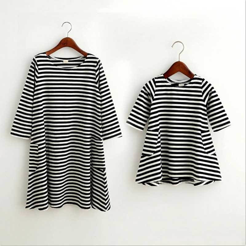 b7bf441e1d9d ... Mommy and Me Matching Black White Striped Loose Fitting Dress -  Trendsology ...