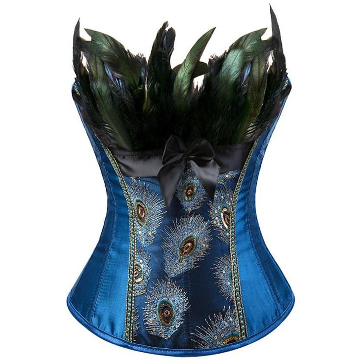 17a90ca450 Peacock Feather Embroidered Corset - Trendsology