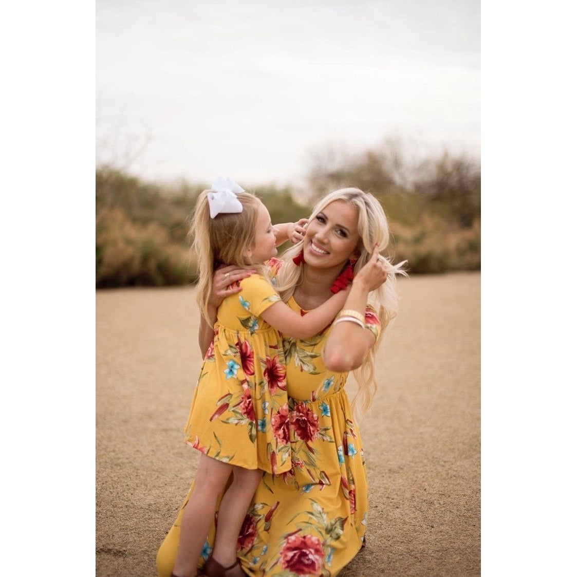 15349c8c3e3fb Mommy and Me Yellow Floral Print Casual Midi Dress
