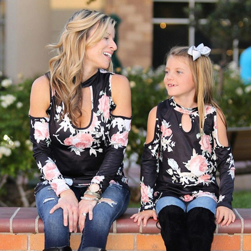 4959694ce5a2 ... Mommy and Me Matching Cold Shoulder Floral Tops - Trendsology ...