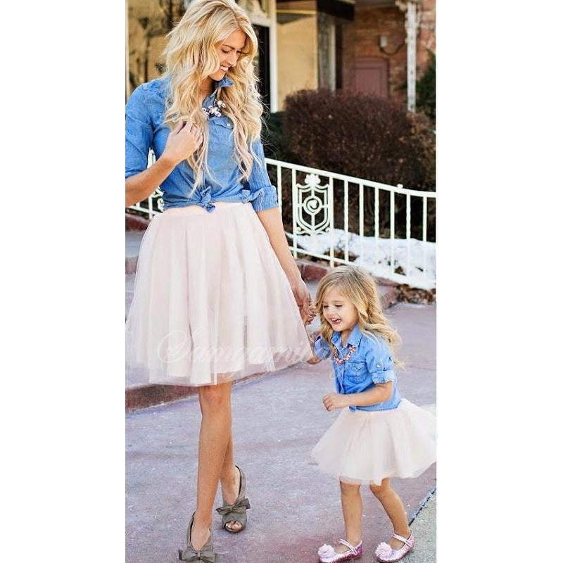 3da76567f Mom and Me Matching Tutu Skirt and Jean Shirt Outfit - Trendsology
