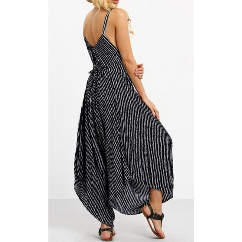 369a55d64688 Casual Loose Fitting Striped Harem Jumpsuit - Trendsology