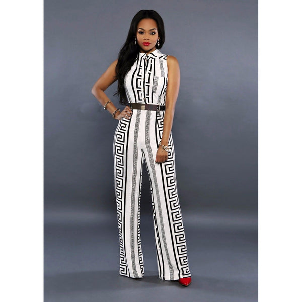 3acc76f5b080 Black and White Belted Wide Leg Jumpsuit - Trendsology