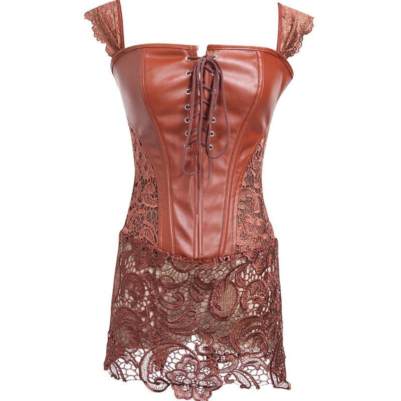 Faux Leather and Lace Corset Dress - Trendsology 509fc886f38a