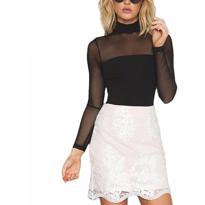0cdeaf4d3ca6 High Neck Transparent Mesh Long Sleeved Bodysuit - Trendsology ...