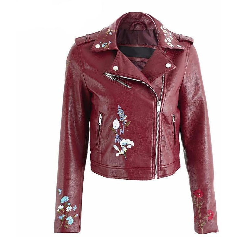 b64a2b5adc3abd Burgundy Embroidered Floral Faux Leather Motorcycle Bomber Jacket -  Trendsology ...